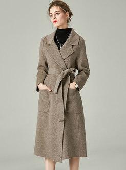 Solid Lapel Double-cashmere Long Wool Coat