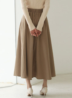 High Waisted A Line Pleated Maxi Skirt