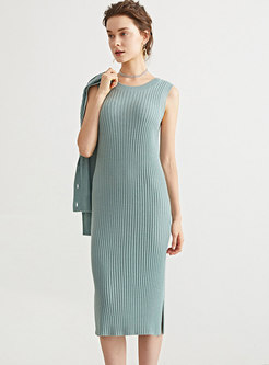 Crew Neck Sleeveless Sheath Split Knitted Dress