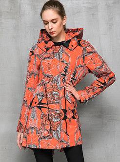 Hooded Print Straight Drawstring Windbreaker