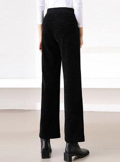 Solid High Waisted Corduroy Wide Leg Pants
