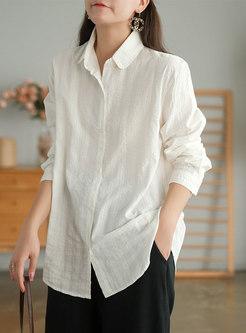 Retro Long Sleeve Single-breasted Plaid Shirt