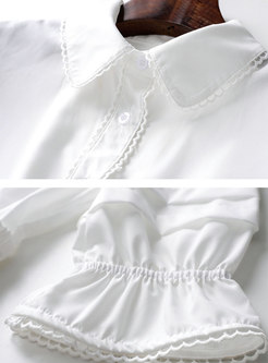 Half Sleeve High Waisted A Line White Shirt Dress
