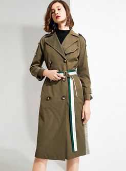 Green Lapel Double-breasted Straight Trench Coat