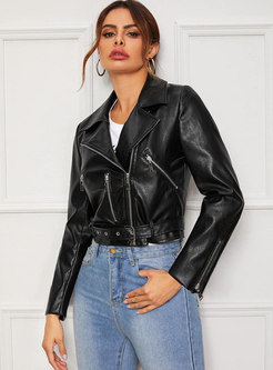 Black Lapel PU Short Biker Jacket