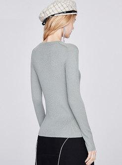 Solid Crew Neck Pullover Slim Sweater