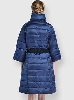 Mock Neck Half Sleeve Cotton-padded Coat
