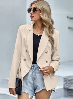 Work Notched Collar Double-breasted Blazer