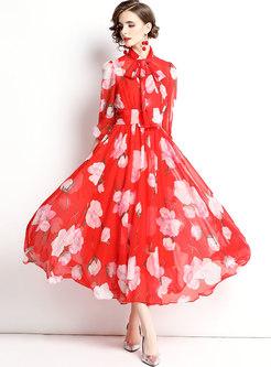Bowknot Mock Neck Print Big Hem Chiffon Maxi Dress