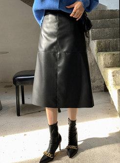 Retro High Waisted PU A Line Maxi Skirt