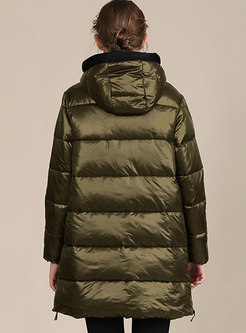Solid Hooded Long Sleeve Straight Cotton-padded Coat