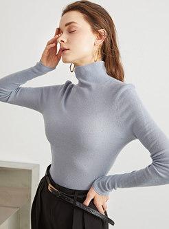 Turtleneck Pullover Slim Wool Knit Top