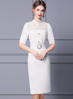 White Puff Sleeve Lace Patchwork Bodycon Dress