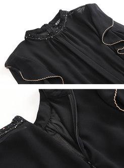Black Mock Neck Beaded Ruffle High Waisted Jumpsuits