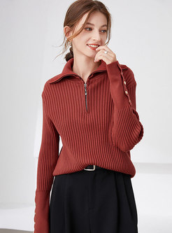 Turn-down Collar Long Sleeve Pullover Sweater
