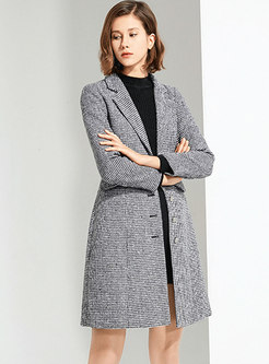 Notched Collar Houndstooth Wool Blend Overcoat