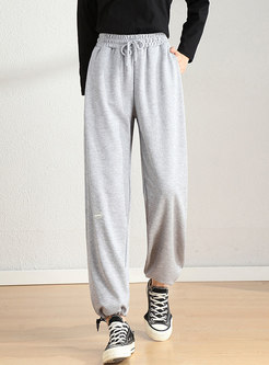 High Waisted Drawstring Track Joggers