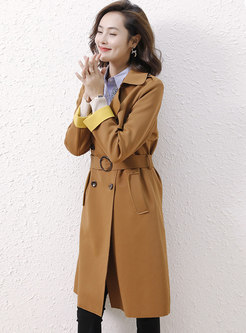 Brown Double-breasted Trench Coat With Belt
