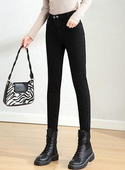 Black High Waisted Denim Leggings with Pockets