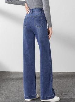 Blue High Waisted Wide Leg Jeans