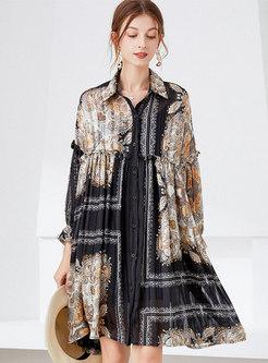 Satin Print Plus Size Shirt Dress With Long Sleeve