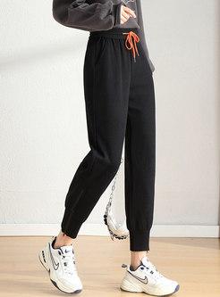 Grey Drawstring High Waisted Sweatpants
