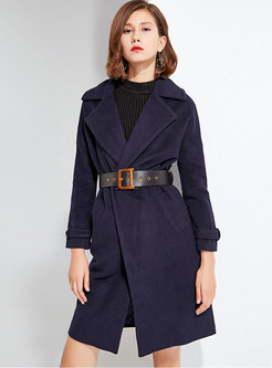Notched Collar Wool Blend Overcoat With Belt