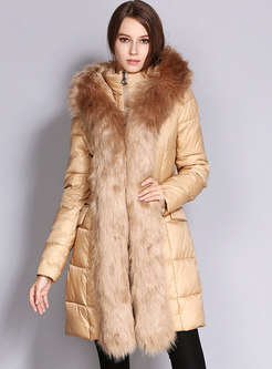 Removable Fur Collar Hooded Puffer Coat