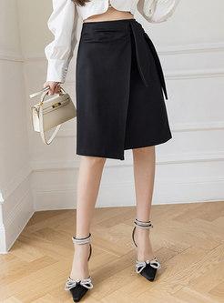 High Waisted Work Wrap Pencil Skirt