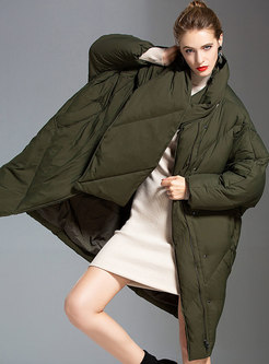 Plus Size Duck Down Puffer Coat With Scarf
