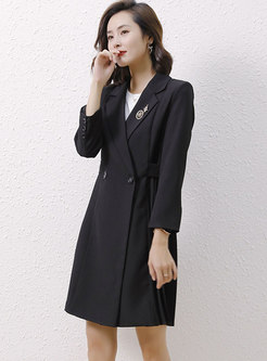 Double-breasted Side Pleated Trench Coat