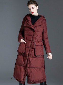 Hooded Flap Pockets Long Puffer Coat