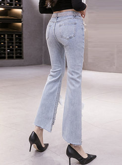 High Waisted Bowknot Cropped Bell Bottom Jeans