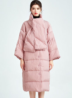 Mock Neck Plus Size Long Puffer Coat With Scarf