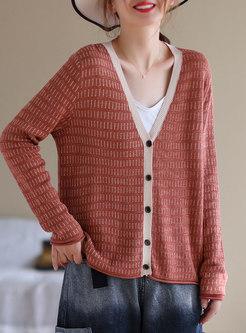 V-neck Long Sleeve Cardigan Woolen Sweater