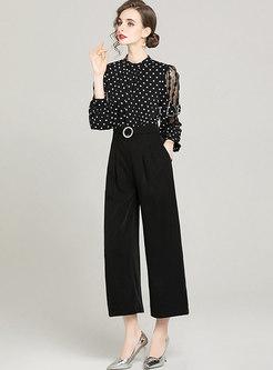 Polka Dot Bowknot High Waisted Wide Leg Jumpsuits
