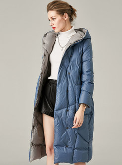 Hooded Button-down Straight Lightweight Down Coat