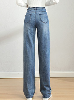 High Waisted Embroidered Wide Leg Jeans