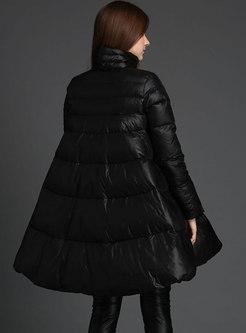 Mock Neck Plus Size A Line Puffer Coat