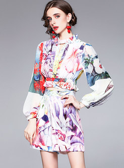 Long Sleeve Printed Blouse & High Waisted Hot Pant Suits