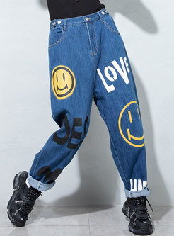 High Waisted Letter Straight Harem Jeans