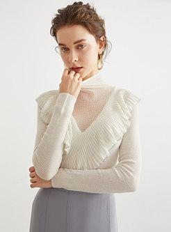 Turtleneck Long Sleeve Pullover Wool Sweater
