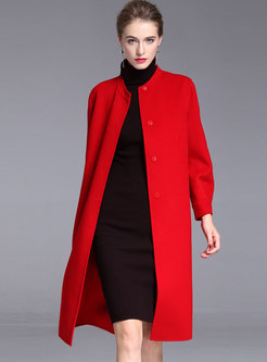 Crew Neck Button-down Mid-length Cashmere Overcoat