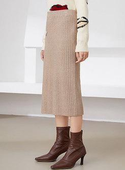 High Waisted Straight Split Midi Sweater Skirt
