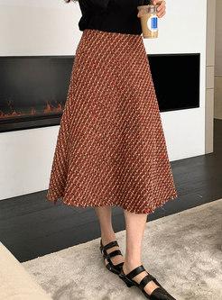 High Waisted Plaid Tweed A Line Midi Skirt