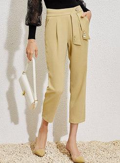 High Waisted Ribbon Work Capri Pants
