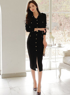 Long Sleeve Button-down Belted Sweater Dress