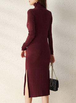 Turtleneck Long Sleeve Ribbed Midi Sweater Dress