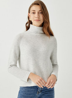 Turtleneck Long Sleeve Pullover Cashmere Sweater
