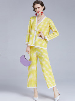 V-neck Houndstooth Sweater Cardigan & Wide Leg Pant Suits